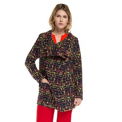 Płaszcz damski, granatowo - czerwony, 86-9W-109-X-L, Zdjęcie 1