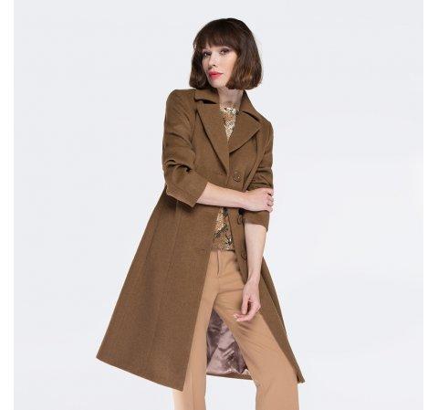 Płaszcz damski, camelowy, 87-9W-101-8-S, Zdjęcie 1