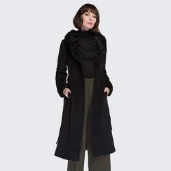 Płaszcz damski, czarny, 87-9W-104-1-2X, Zdjęcie 1