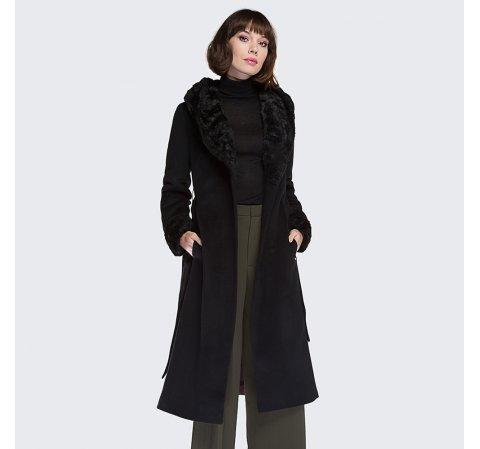 Płaszcz damski, czarny, 87-9W-104-1-S, Zdjęcie 1