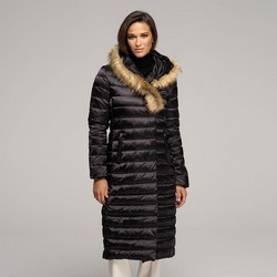 Women's fur hooded maxi down coat, black, 91-9D-400-1-M, Photo 1