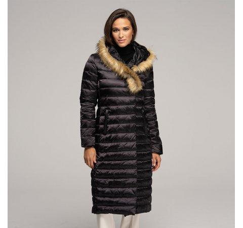 Damski płaszcz puchowy z kapturem, czarny, 91-9D-400-7-S, Zdjęcie 1