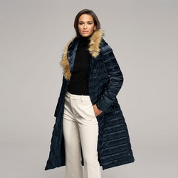 Women's fur hooded maxi down coat, navy blue, 91-9D-400-7-L, Photo 1