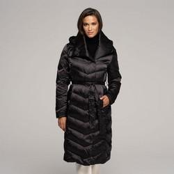 Damski puchowy płaszcz z kapturem, czarny, 91-9D-403-1-S, Zdjęcie 1