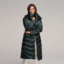 Damski puchowy płaszcz z kapturem, zielony, 91-9D-403-Z-2XL, Zdjęcie 1