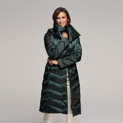 Damski puchowy płaszcz z kapturem, zielony, 91-9D-403-Z-3XL, Zdjęcie 1
