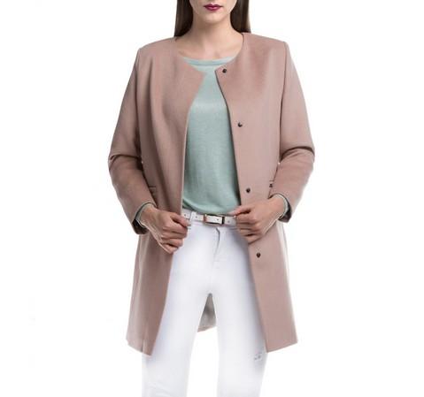 Płaszcz damski, beżowy, 84-9W-101-1-XL, Zdjęcie 1