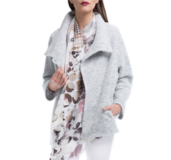Women's coat, light grey, 84-9W-104-9-XL, Photo 1