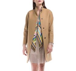 Płaszcz damski, beżowy, 84-9W-107-5-L, Zdjęcie 1