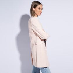 Płaszcz damski, biało-różowy, 86-9W-105-9-L, Zdjęcie 1