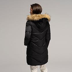 Damska kurtka puchowa z kapturem, czarny, 91-9D-401-1-S, Zdjęcie 1