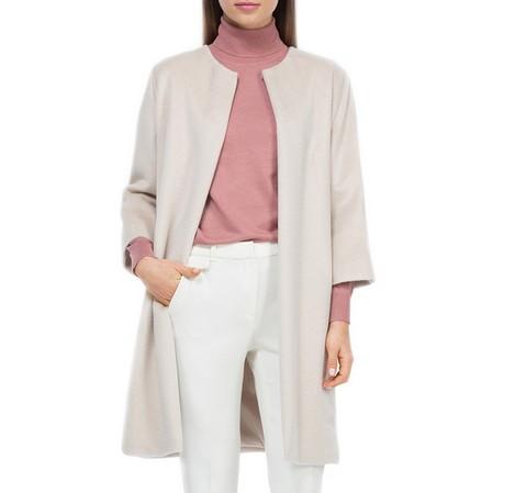 Płaszcz damski, kremowy, 84-9W-100-1-M, Zdjęcie 1