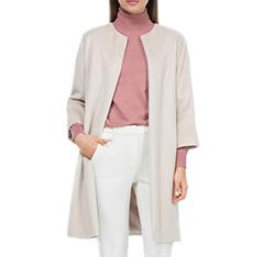 Płaszcz damski, kremowy, 84-9W-100-9-L, Zdjęcie 1