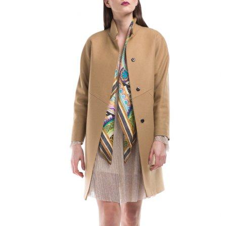 Płaszcz damski, beżowy, 84-9W-107-1-L, Zdjęcie 1