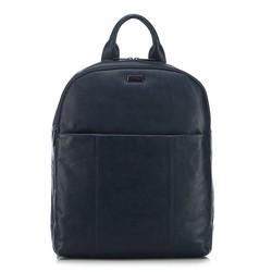 Męski plecak na laptopa skórzany, granatowy, 91-3U-304-7, Zdjęcie 1