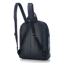 Men's leather laptop backpack, navy blue, 91-3U-304-7, Photo 1