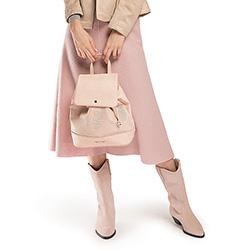 Plecak damski, pudrowy róż, 86-4Y-405-P, Zdjęcie 1