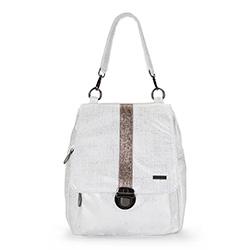 Plecak damski, biało - srebrny, 86-4Y-502-9, Zdjęcie 1