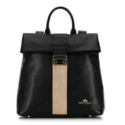 Plecak damski, czarno - złoty, 90-4E-600-1, Zdjęcie 1