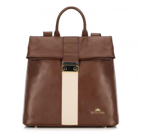 Plecak damski, brązowo - beżowy, 90-4E-600-5, Zdjęcie 1