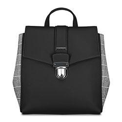 Damski plecak z kraciastymi bokami, czarny, 90-4Y-610-1, Zdjęcie 1