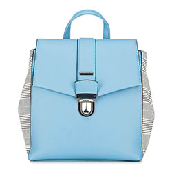 Damski plecak z kraciastymi bokami, błękitny, 90-4Y-610-N, Zdjęcie 1