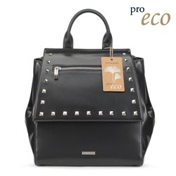 Women's faux leather backpack, black, 91-4Y-254-1, Photo 1