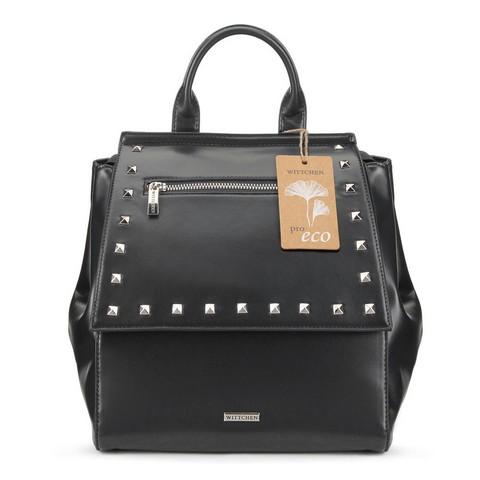 Damski plecak z nitami, czarny, 91-4Y-254-7, Zdjęcie 1