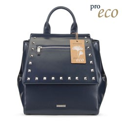 Women's faux leather backpack, navy blue, 91-4Y-254-7, Photo 1