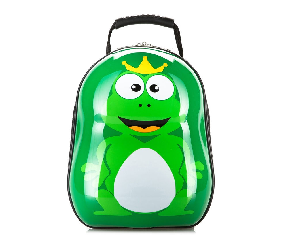 Детский рюкзакДетский дорожный рюкзак из коллекции Travel Kids. Выполнен из высокопрочного материала АБС-пластик, используемого для изготовления чемоданов. Детский рисунок на передней стороне сделает каждую поездку для Ваших детей настоящим удовольствием.  Особенности модели:  Основное отделение на молнии   Дополнительно:   удобная ручка; регулируемые шлейки.<br><br>секс: унисекс<br>Цвет: зеленый<br>материал:: ABS пластик<br>подкладка:: полиэстер<br>высота (см):: 34<br>ширина (см):: 28<br>глубина (см):: 17<br>вес (кг):: 0.6<br>объем (л):: 13