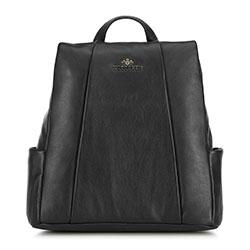 Damski plecak ze skóry z ukrytym zamkiem, czarny, 91-4E-312-1, Zdjęcie 1