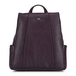 Damski plecak ze skóry z ukrytym zamkiem, fioletowy, 91-4E-312-2, Zdjęcie 1