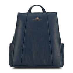 Women's leather backpack, navy blue, 91-4E-312-7, Photo 1