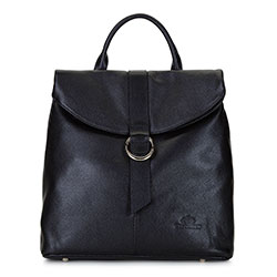 Damski plecak ze skóry składany, czarny, 92-4E-304-1, Zdjęcie 1