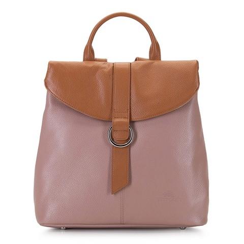 Damski plecak ze skóry składany, różowo - brązowy, 92-4E-304-1, Zdjęcie 1