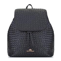 Damski plecak skórzany pleciony, czarny, 92-4E-902-1, Zdjęcie 1