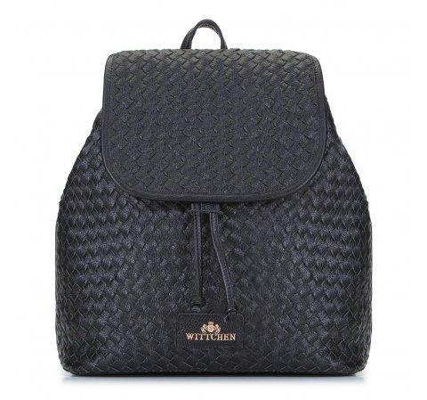Damski plecak skórzany pleciony, czarny, 92-4E-902-9, Zdjęcie 1
