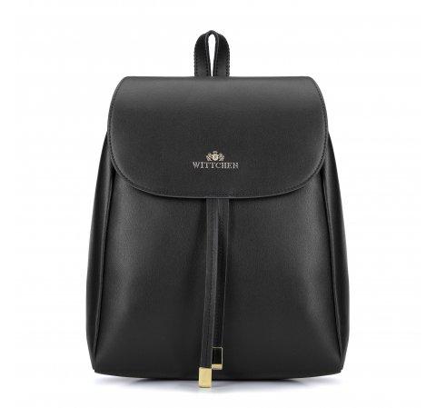 Damski plecak skórzany z paskami, czarny, 93-4E-627-2, Zdjęcie 1