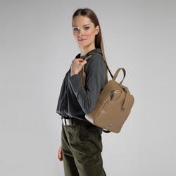 Damski plecak skórzany minimalistyczny, beżowy, 90-4E-354-9, Zdjęcie 1
