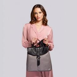 Damski plecak ze skóry składany, szaro - czarny, 92-4E-304-8, Zdjęcie 1