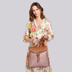 Damski plecak ze skóry składany, różowo - brązowy, 92-4E-304-9, Zdjęcie 1