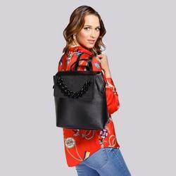 Damski plecak skórzany z łańcuchem, czarny, 92-4E-307-1, Zdjęcie 1