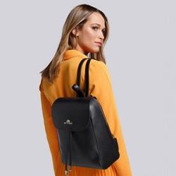 Damski plecak skórzany z paskami, czarny, 93-4E-627-1, Zdjęcie 1