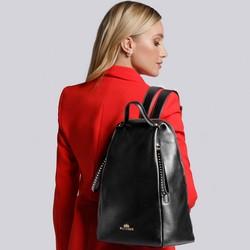 Damski plecak skórzany z ukośnymi kieszeniami, czarny, 93-4E-633-1, Zdjęcie 1