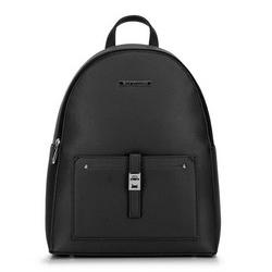 Damski plecak z kieszenią z przodu, czarno - srebrny, 29-4Y-003-1, Zdjęcie 1