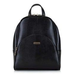 Damski plecak z półokrągłą kieszenią, czarno - złoty, 29-4Y-007-01, Zdjęcie 1
