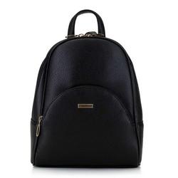 Damski plecak z półokrągłą kieszenią, czarny, 29-4Y-007-1, Zdjęcie 1