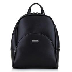 Damski plecak z półokrągłą kieszenią, czarno - srebrny, 29-4Y-007-11, Zdjęcie 1