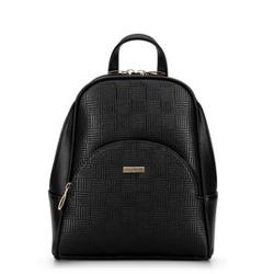 Damski plecak z półokrągłą kieszenią, czarno - beżowy, 29-4Y-007-1E, Zdjęcie 1