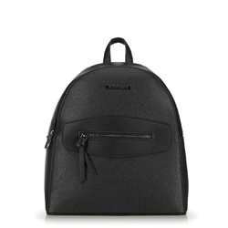 Plecak z ozdobnym panelem, czarny, 92-4Y-203-1, Zdjęcie 1